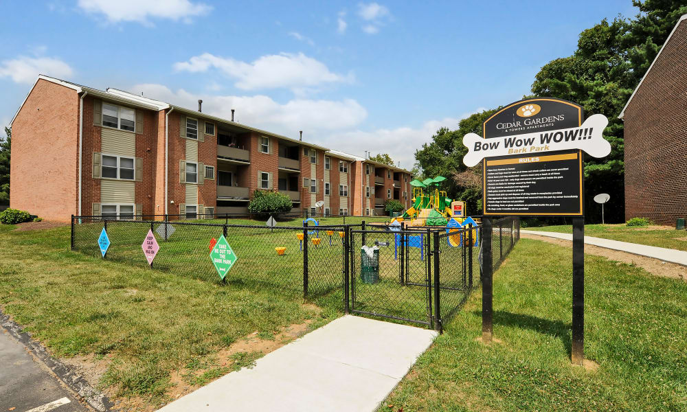 Cedar Gardens and Towers Apartments & Townhomes offers a dog park in Windsor Mill, MD