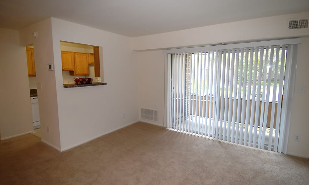 Our apartments in Windsor Mill, MD have a naturally well-lit living room with balcony