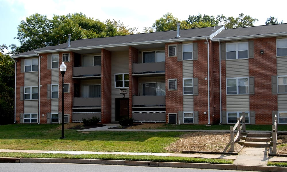 Exterior view at Cedar Gardens and Towers Apartments & Townhomes in Windsor Mill, MD