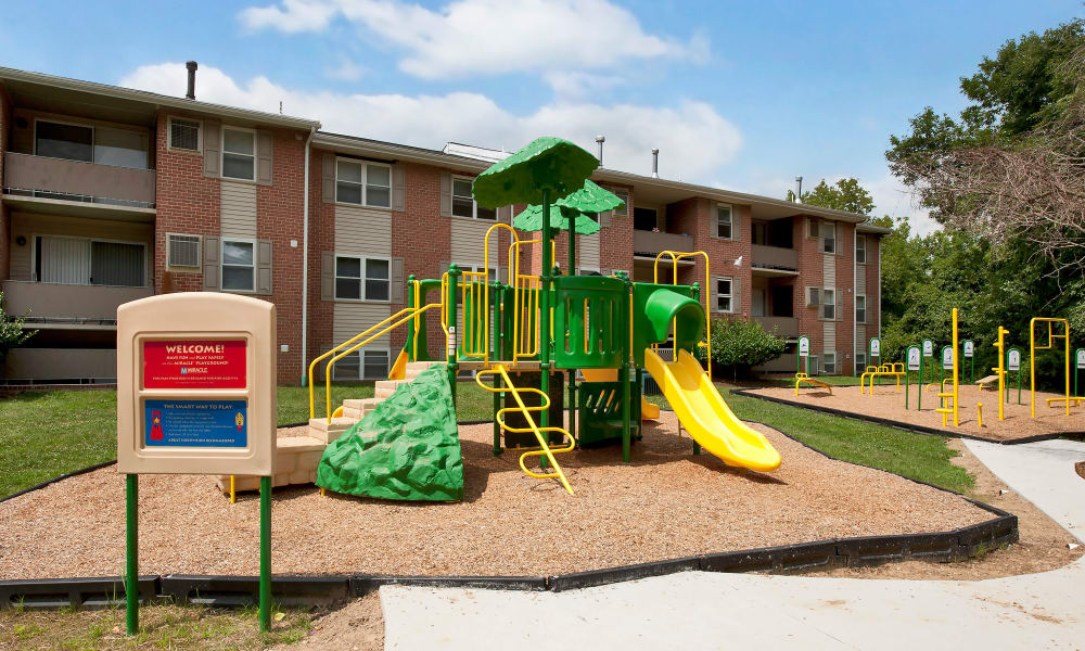 Cedar Gardens and Towers Apartments & Townhomes offers a playground in Windsor Mill, MD
