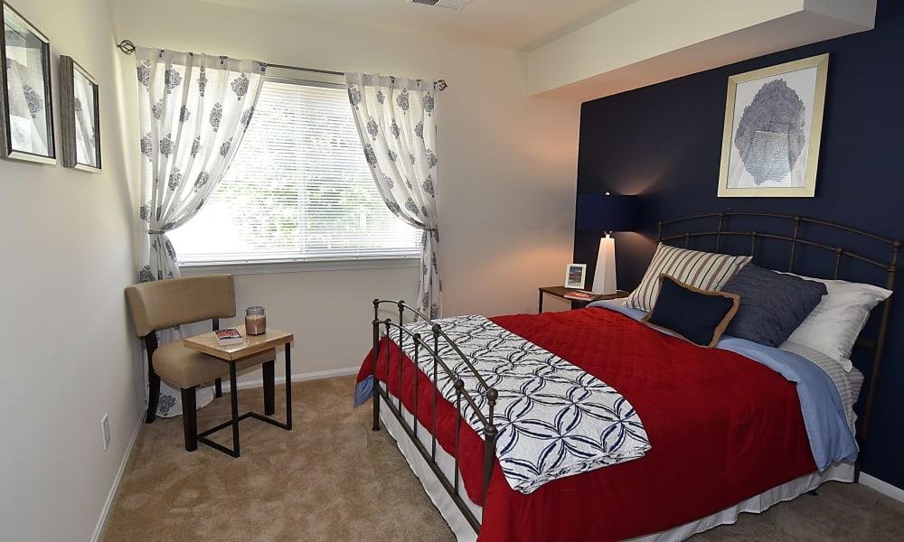 Beautiful bedroom at Lighthouse at Twin Lakes Apartment Homes in Beltsville, MD