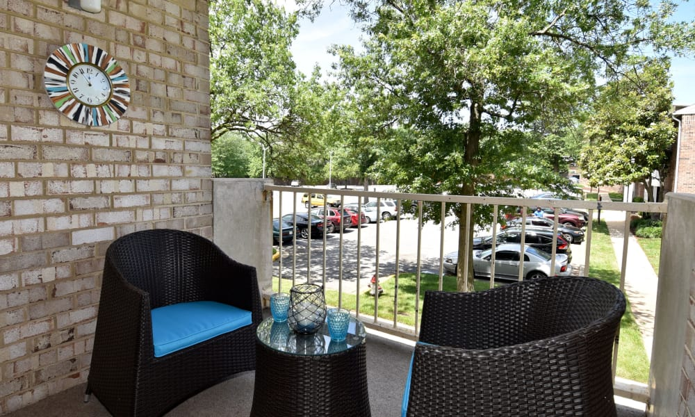 Balcony with furniture at Lighthouse at Twin Lakes Apartment Homes in Beltsville, MD