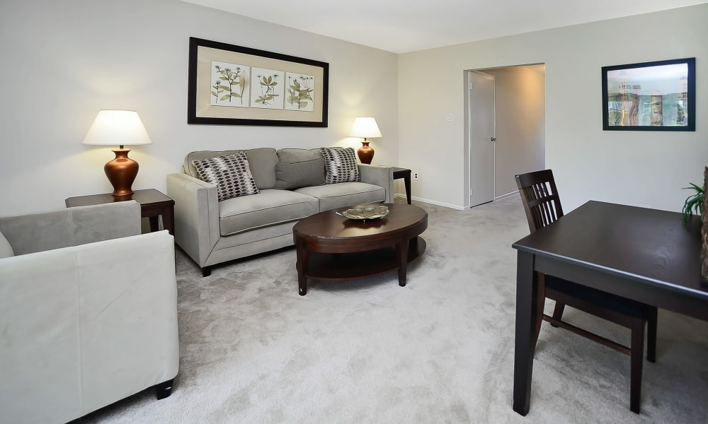Beautiful living room at Eastampton Gardens Apartment Homes in Eastampton, NJ