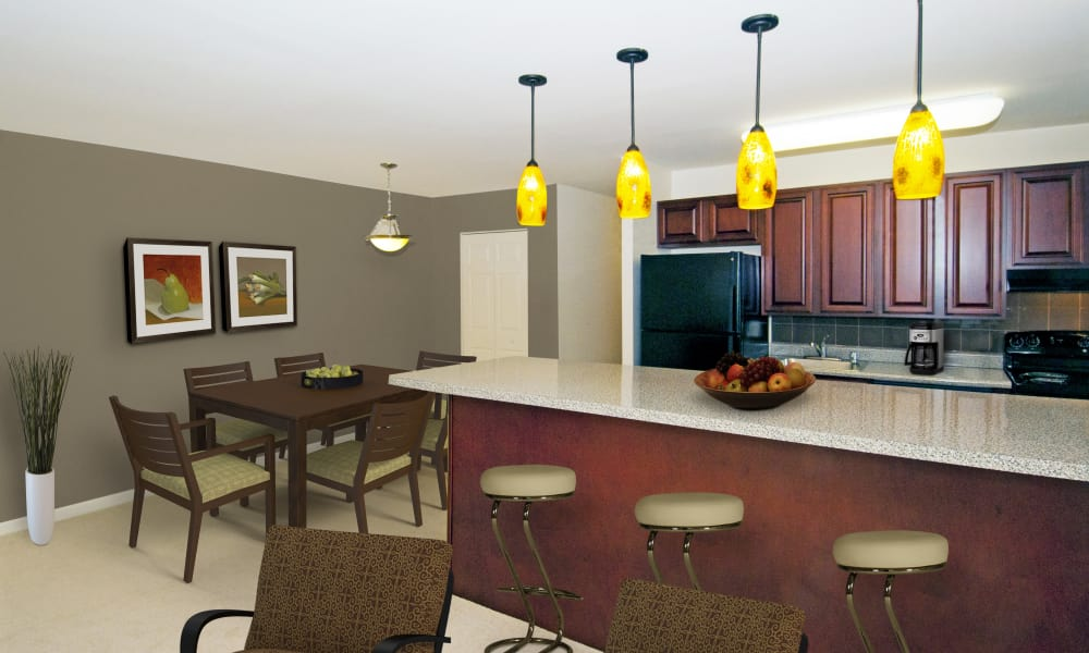 updated spacious kitchen at Stoneridge at Mark Center Apartment Homes