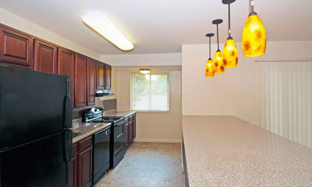 Updated kitchen at Stoneridge at Mark Center Apartment Homes