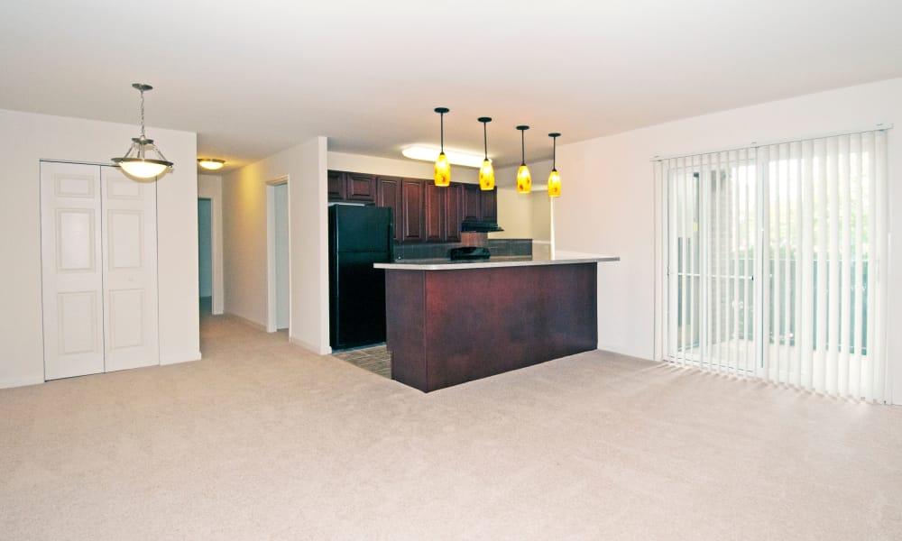 Living room at kitchen at Stoneridge at Mark Center Apartment Homes
