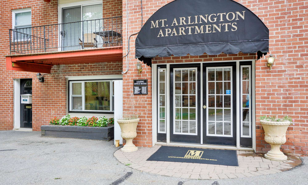 Leasing office entrance at Mt. Arlington Gardens Apartment Homes in Mt. Arlington, NJ