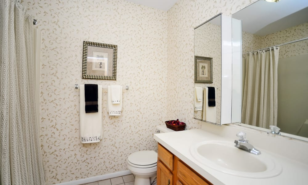 Well-lit bathroom at Sherwood Village Apartment & Townhomes