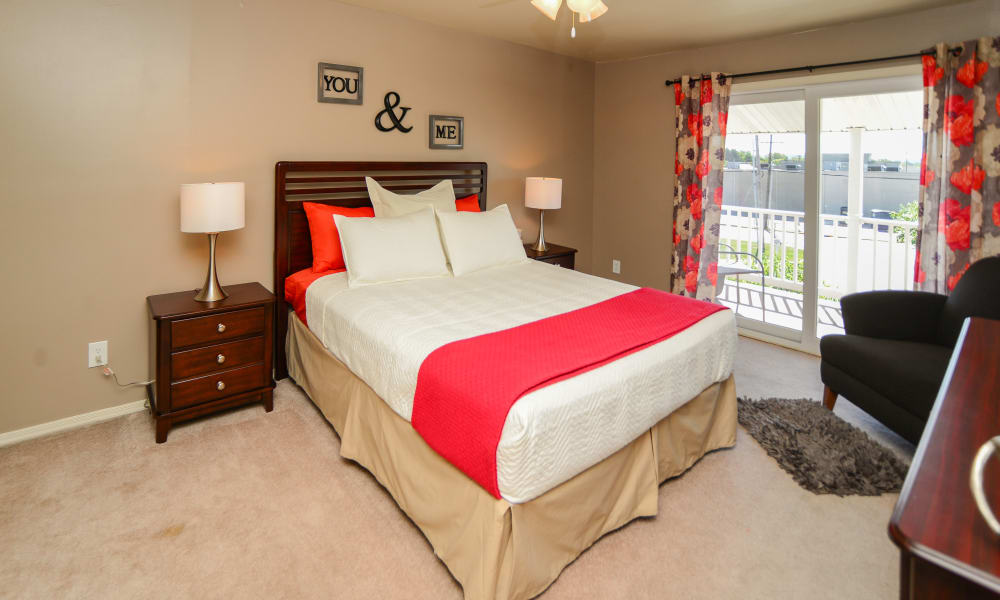 Lovely decorated bedroom at Greentree Village Townhomes in Lebanon, PA