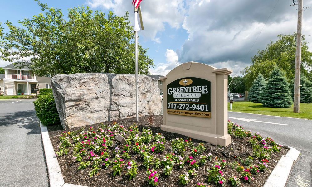 Greentree Village Townhomes entrance signage in Lebanon, PA