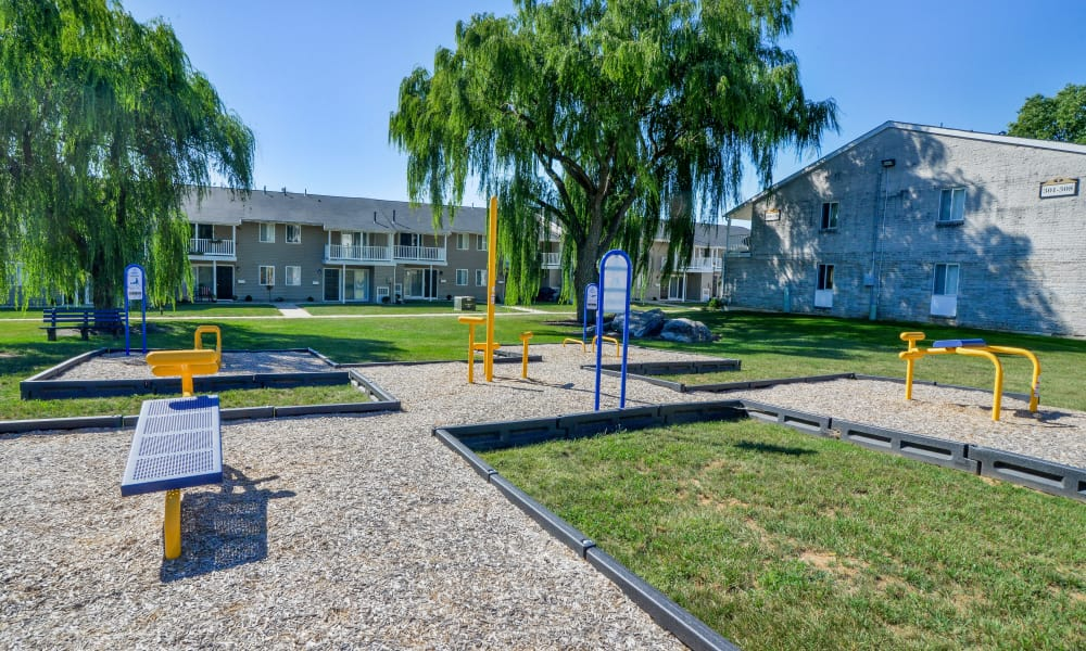 Outdoor fitness center at Greentree Village Townhomes in Lebanon, PA