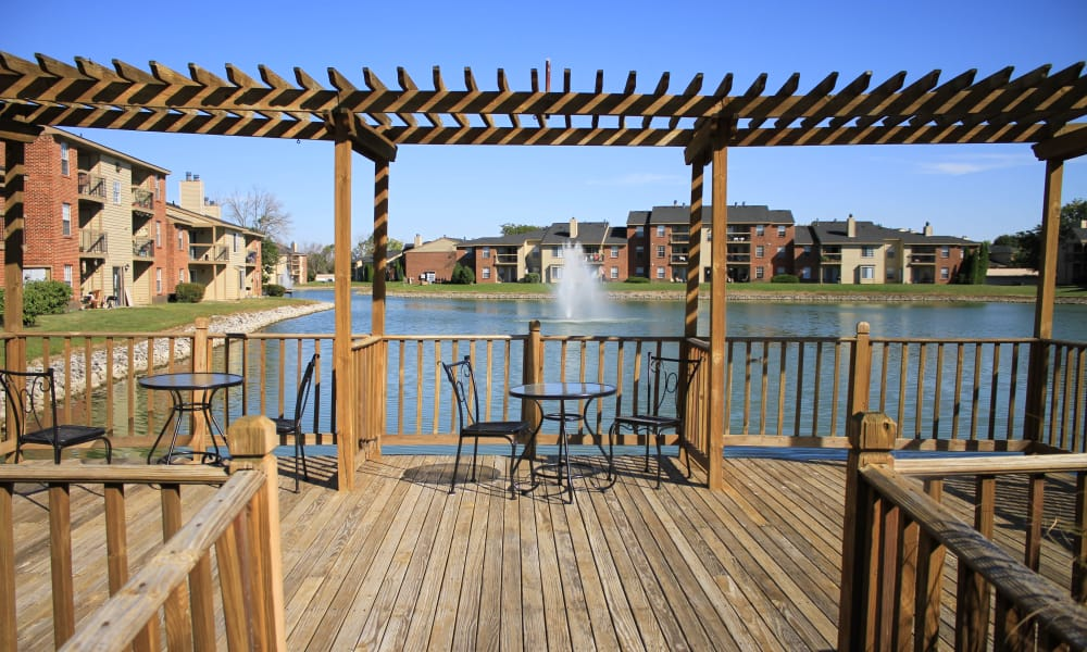Beautiful view from the deck at Hidden Lakes Apartment Homes in Miamisburg, Ohio
