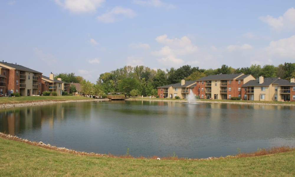 Lake overlooking Hidden Lakes Apartment Homes in Miamisburg, Ohio}