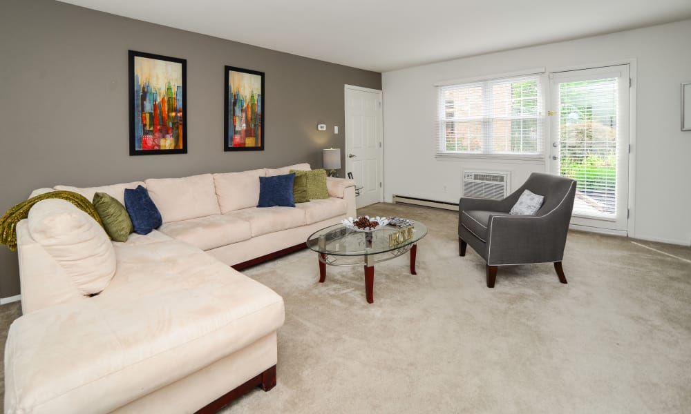 Spacious living room at Kingswood Apartments & Townhomes in King of Prussia, Pennsylvania