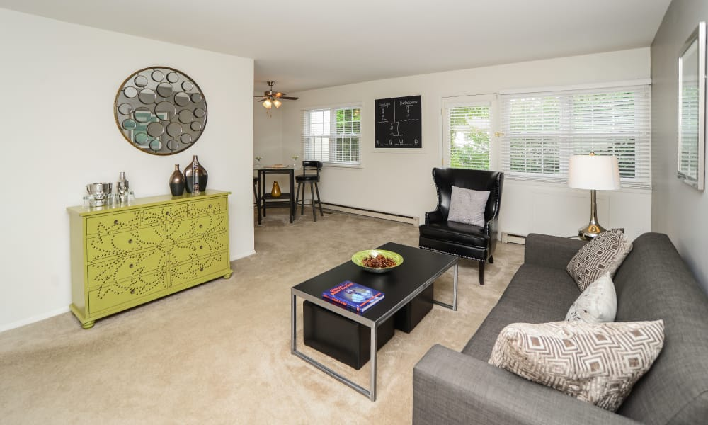 Beautiful living room at Kingswood Apartments & Townhomes in King of Prussia, Pennsylvania