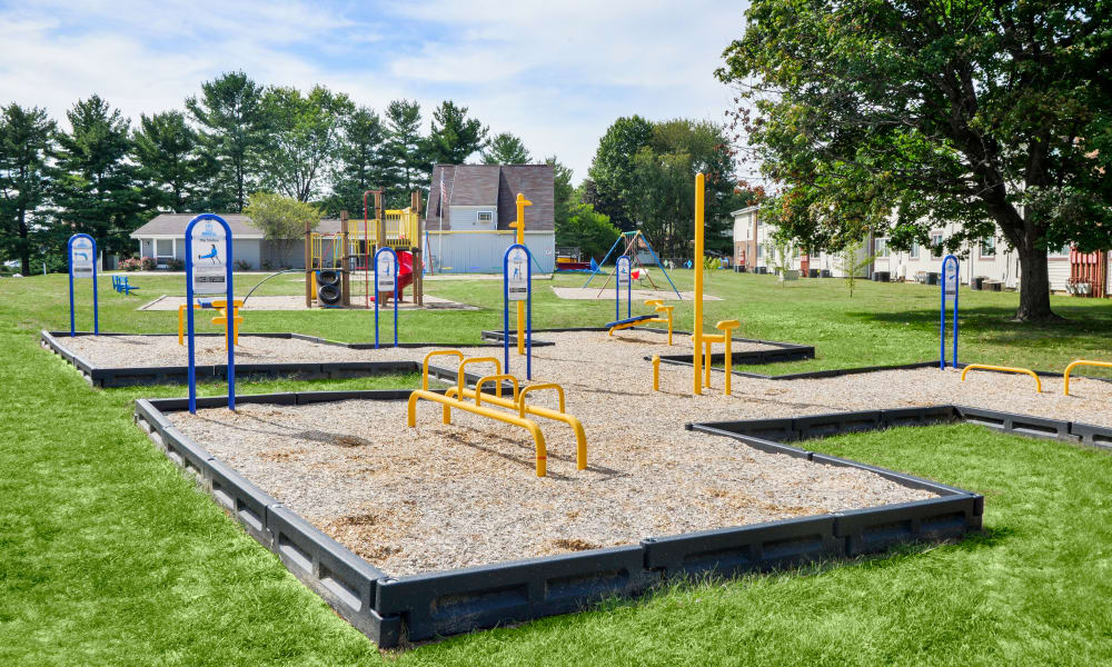 Outdoors health and fitness equipment at Oxford Manor Apartments & Townhomes in Mechanicsburg, PA