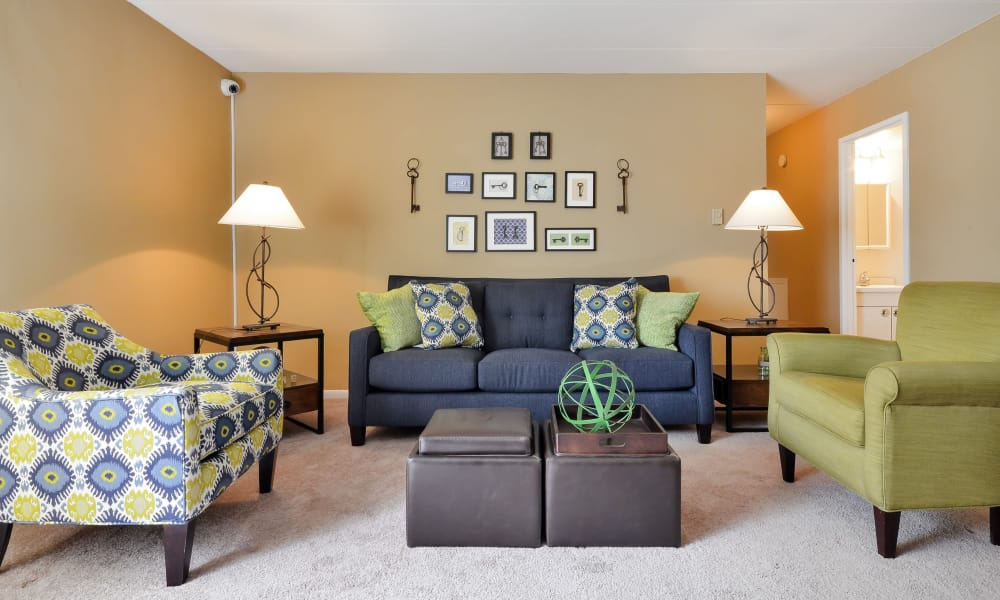 Well decorated model living room at William Penn Village Apartment Homes in New Castle, Delaware