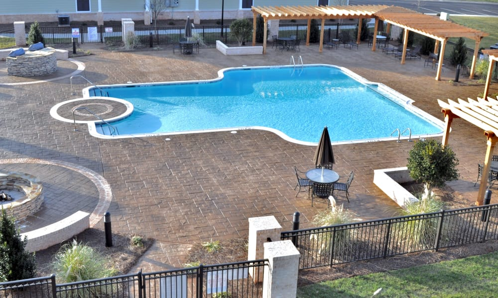 Aerial shot of the pool at Delaney Apartment Homes in Concord