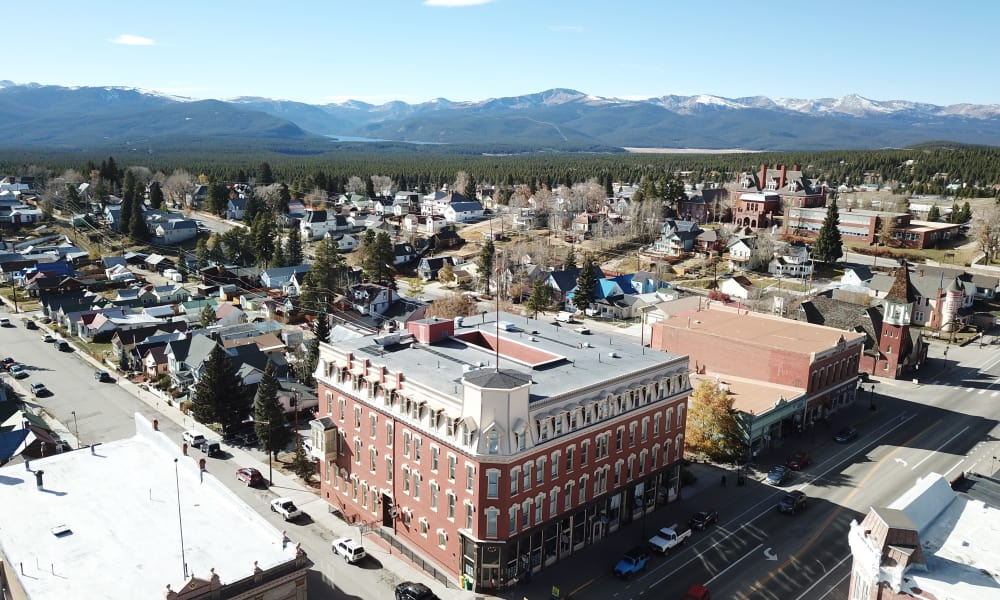 Aerial view of Tabor Grand Hotel in Leadville, CO
