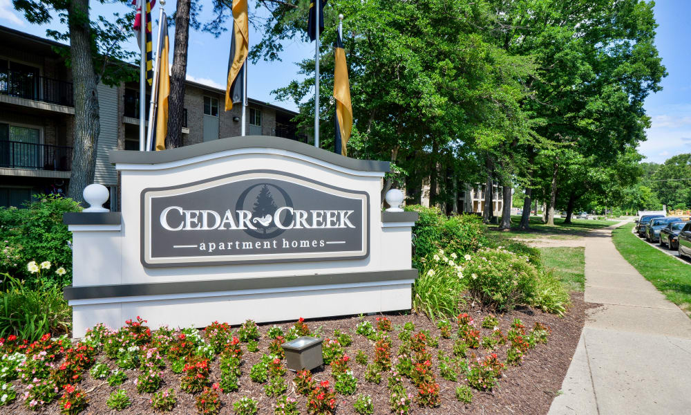 Entrance monument at Cedar Creek Apartment Homes in Glen Burnie, MD