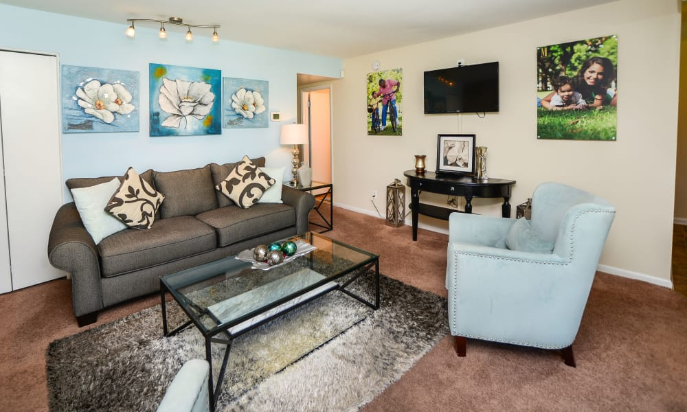 Cedar Creek Apartment Homes offers a spacious living room in Glen Burnie, MD