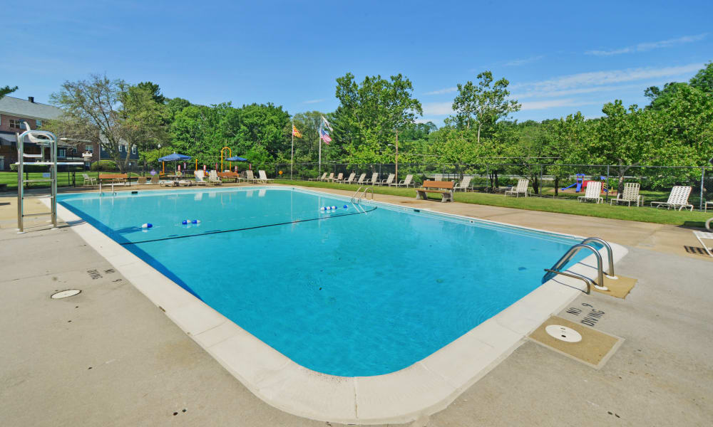 Sparkling swimming pool awaits you at Arbors at Edenbridge Apartments & Townhomes in Parkville, MD