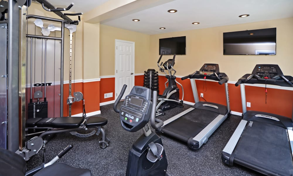Fully equipped fitness center awaiting you at Arbors at Edenbridge Apartments & Townhomes in Parkville, MD