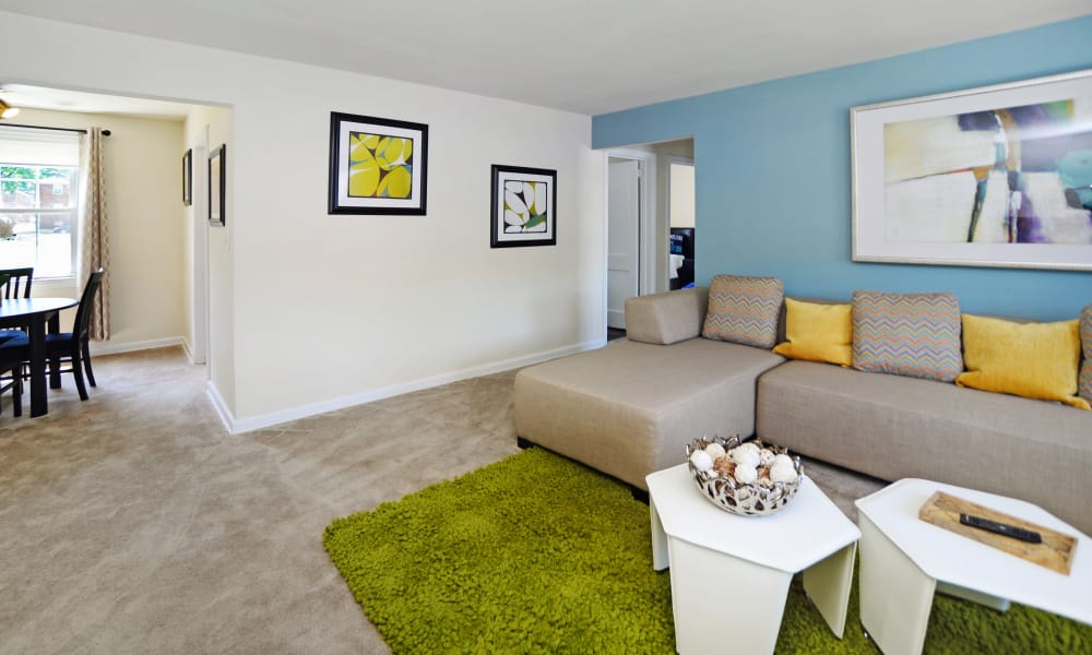 Beautiful living room at Oak Grove Apartments & Townhomes in Middle River, MD