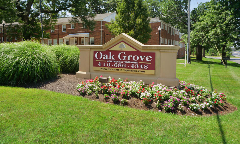 entrance monument at Oak Grove Apartments & Townhomes in Middle River, MD