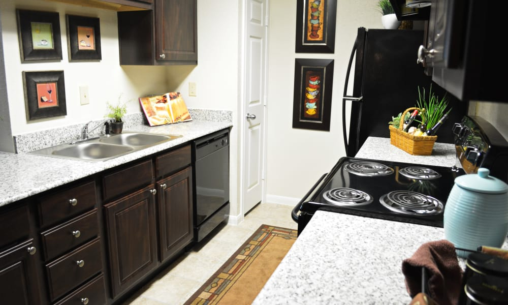 State-of-the-art kitchen at The Abbey At Enclave apartments in Houston, TX