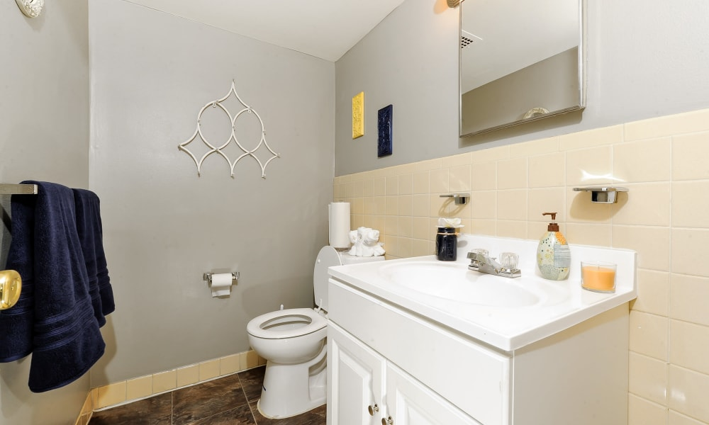 View of a model bathroom at The Reserve at Greenspring in Baltimore, MD
