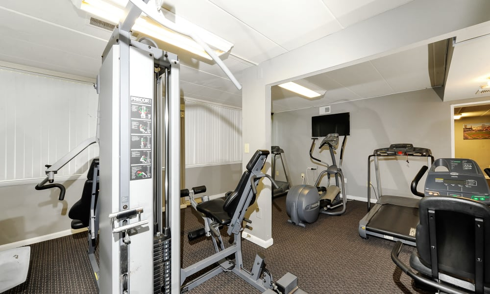 Fully equipped fitness center at The Reserve at Greenspring in Baltimore, MD