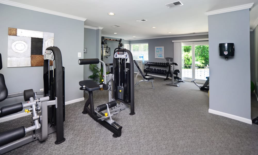 Unique fitness center at Quail Hollow Apartment Homes in Glen Burnie, Maryland