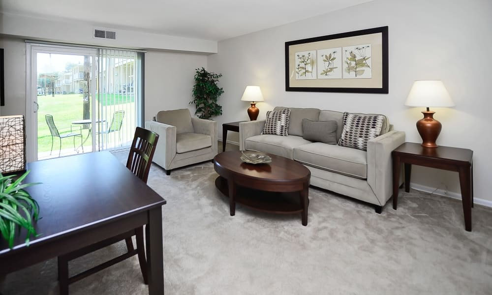 Spacious living room at Eastampton Gardens Apartment Homes