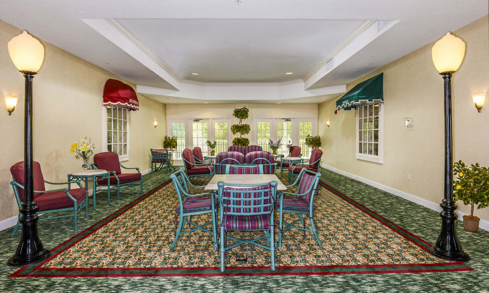 Indoor patio environment at Arbor Oaks at Greenacres in Greenacres, Florida