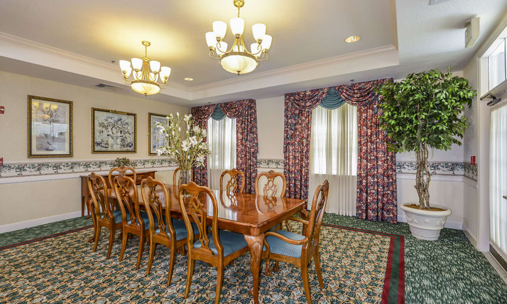 Family dining room at Arbor Oaks at Greenacres in Greenacres, Florida