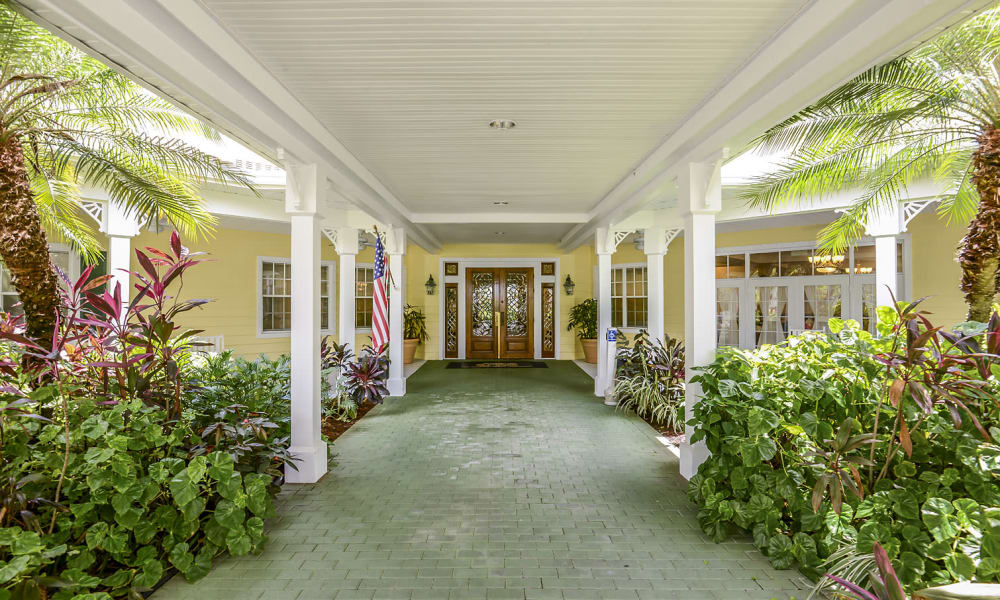 Front walkway and entrance at Arbor Oaks at Greenacres in Greenacres, Florida