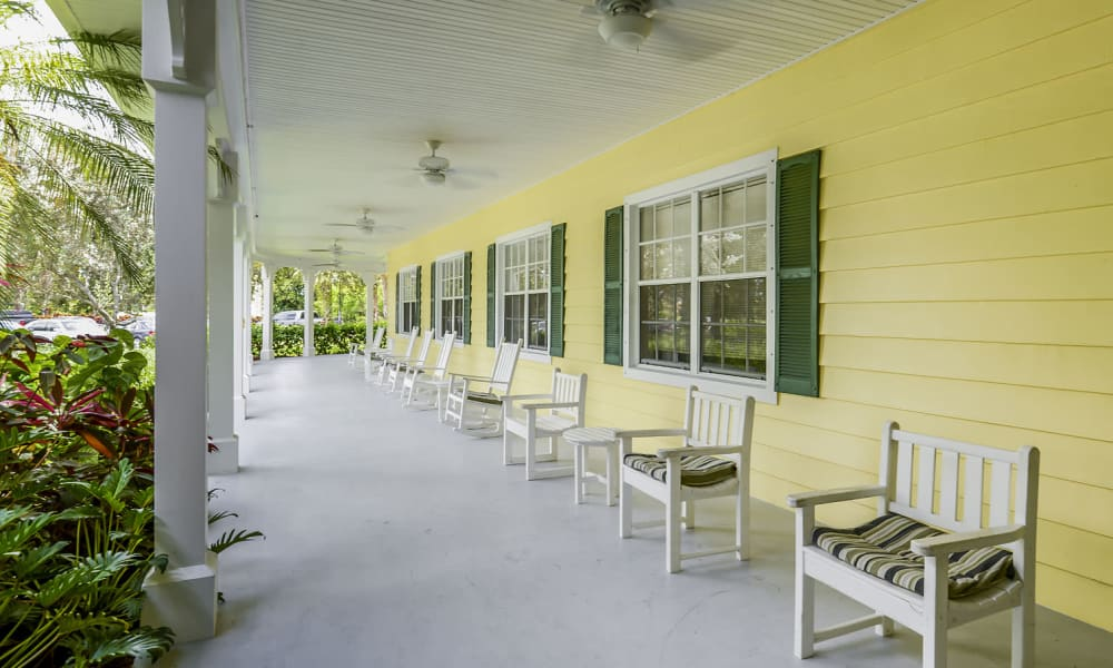 Front deck and sitting area at Arbor Oaks at Greenacres in Greenacres, Florida