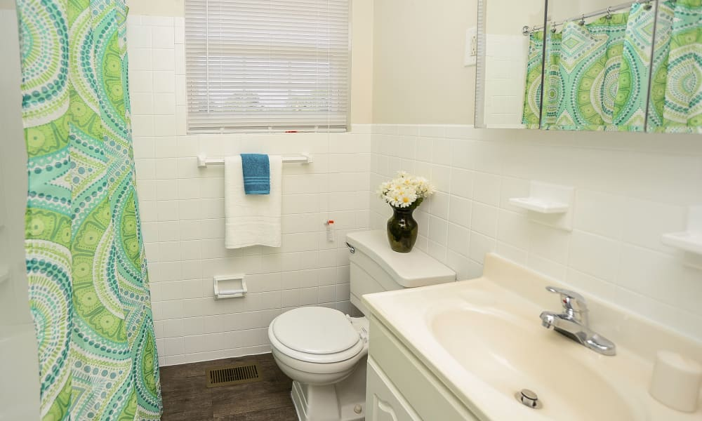 Bathroom at Burnt Mill Apartment Homes