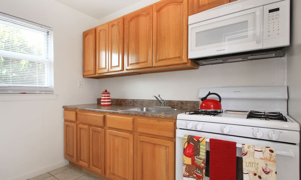 Modern kitchen at apartments in Elmwood Park, New Jersey