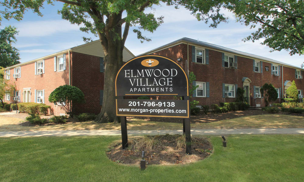 welcome sign at Elmwood Village Apartments & Townhomes in Elmwood Park, New Jersey