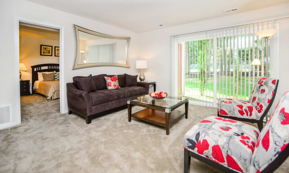 The Landings Apartment Homes in Absecon, New Jersey have a naturally well-lit living room