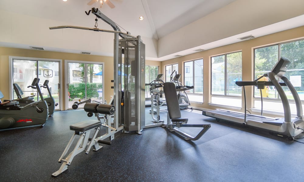 The Landings Apartment Homes in Absecon, New Jersey showcase a modern fitness center