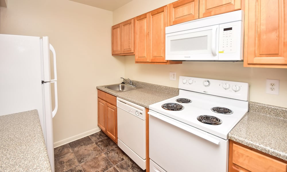 Enjoy apartments with a cozy kitchen at Warwick Terrace Apartment Homes