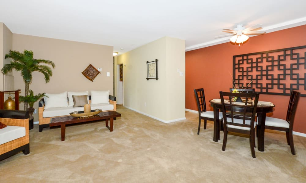 Main Street Apartment Homes offers a spacious living room in Lansdale, PA