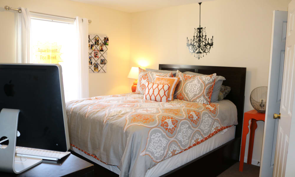 Spartan Crossing apartments in Greensboro, NC showcase a cozy bedroom