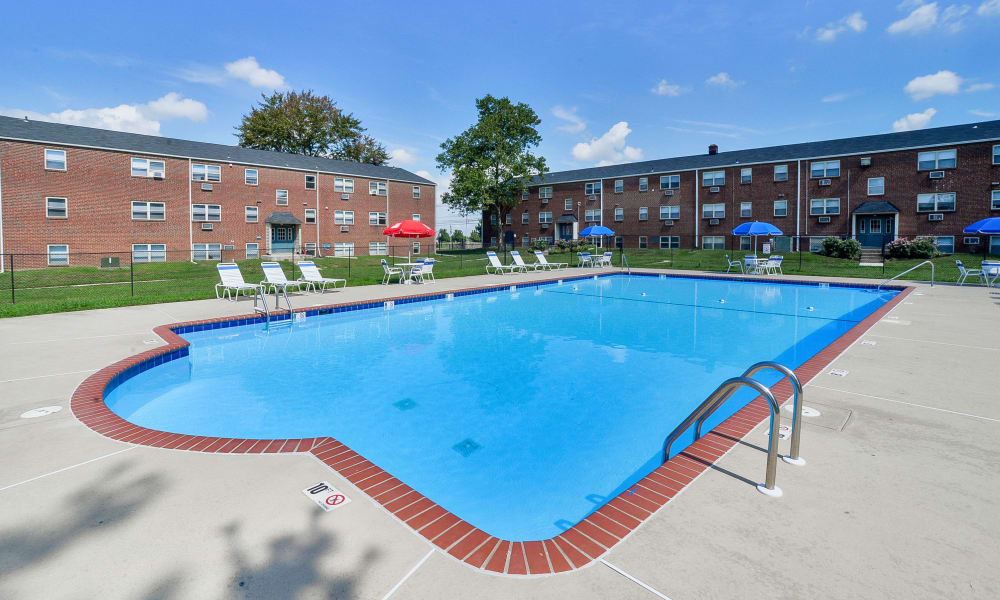 A swimming pool that is great for entertaining at apartments in Bellmawr, New Jersey