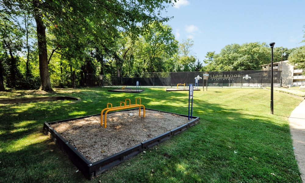 Outdoors fitness equipment at The Reserve at Greenspring in Baltimore, Maryland