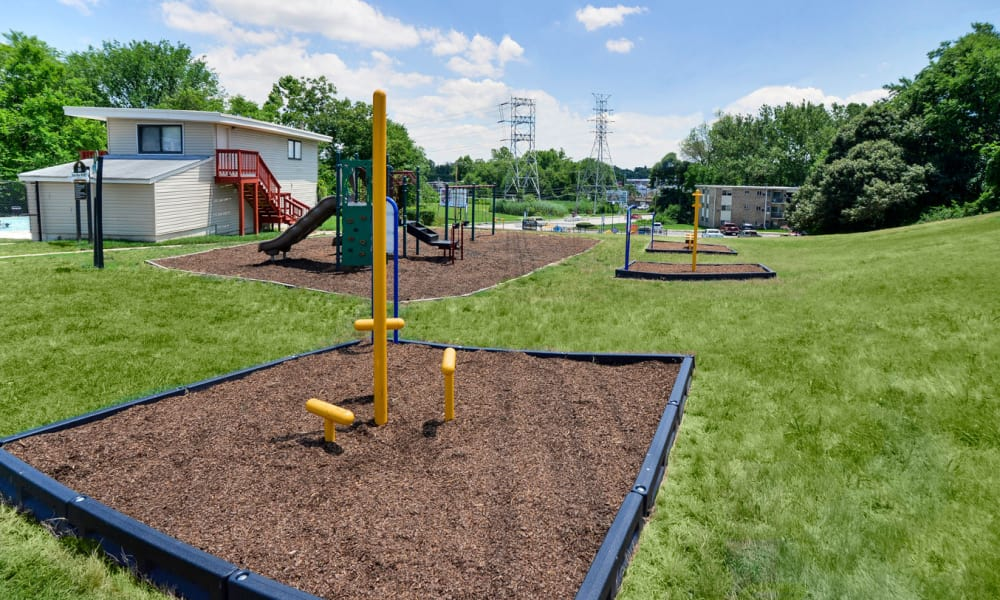 Outdoor fitness stations at apartments in Glen Burnie, Maryland