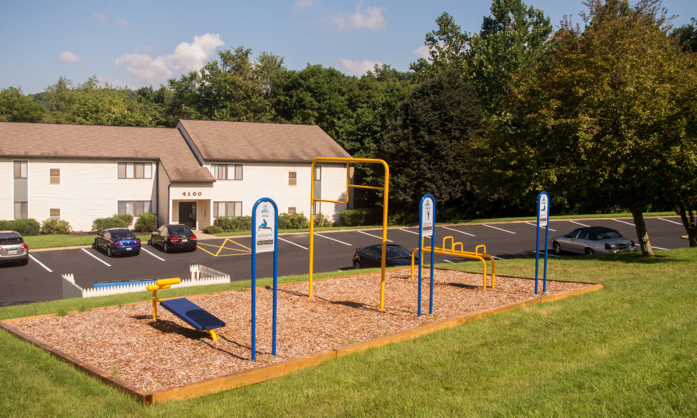 Outdoors health and fitness equipment at Squires Manor Apartment Homes in South Park, PA